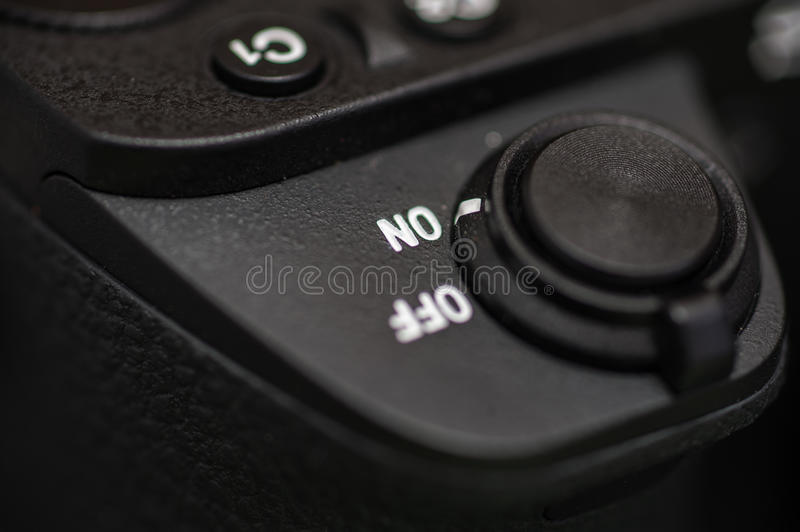 Detailed photo of black camera body with buttons royalty free stock photo