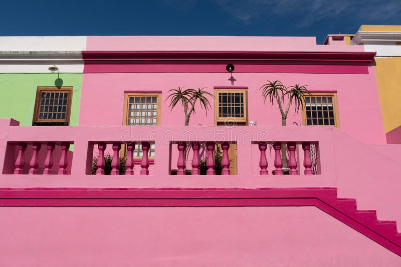 Detailed photo of houses in the Malay Quarter, Bo-Kaap, Cape Town, South Africa. Historical area of brightly painted houses royalty free stock photos