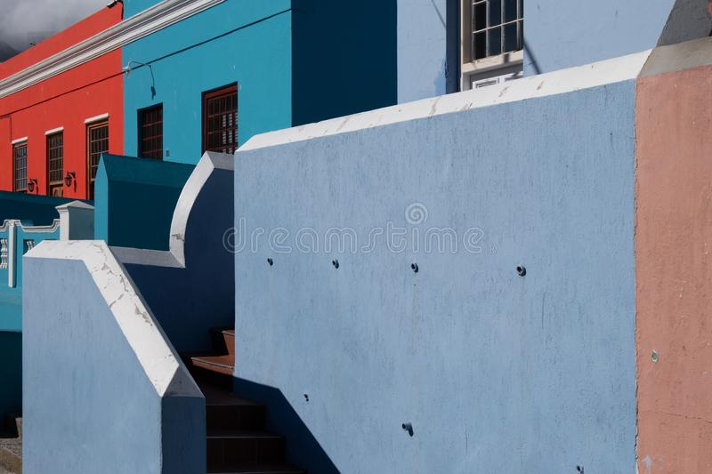 Detailed photo of houses in the Malay Quarter, Bo-Kaap, Cape Town, South Africa. Historical area of brightly painted houses royalty free stock photography