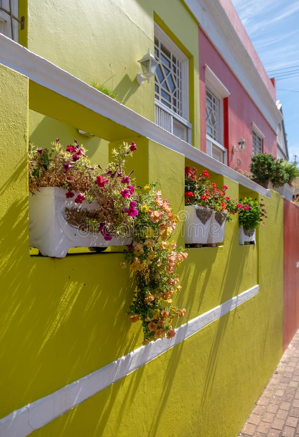 Detailed photo of house in the Malay Quarter, Bo-Kaap, Cape Town, South Africa. Historical area of brightly painted houses royalty free stock photo