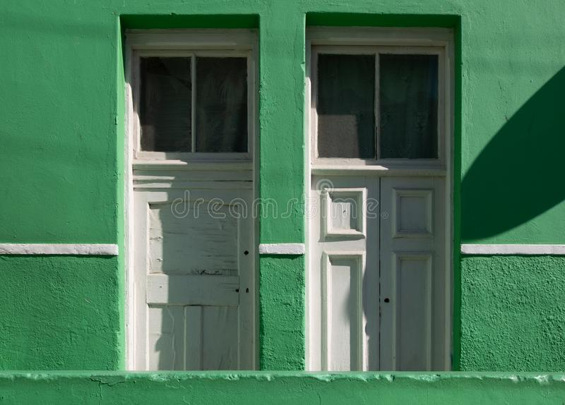Detailed photo of house in the Malay Quarter, Bo-Kaap, Cape Town, South Africa. Historical area of brightly painted houses royalty free stock images