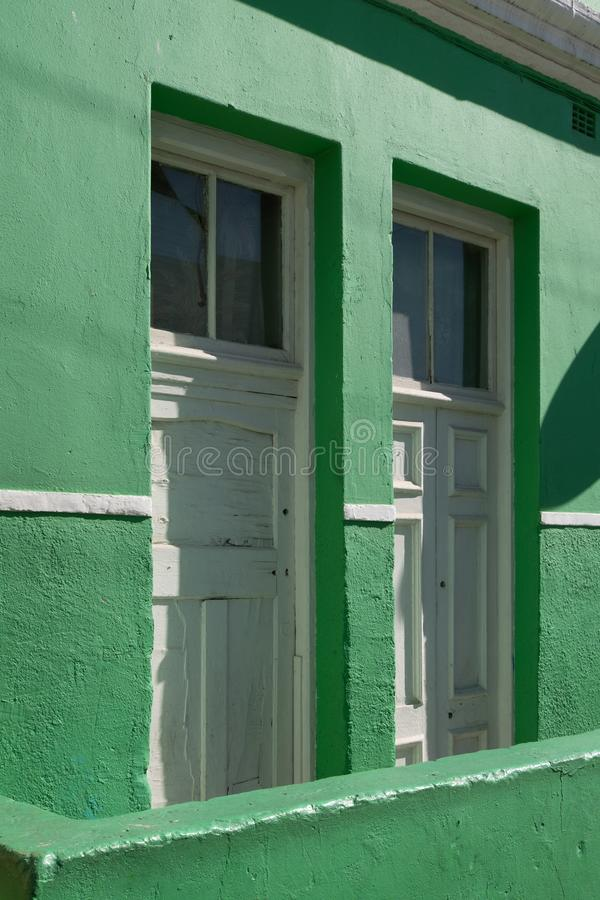 Detailed photo of house in the Malay Quarter, Bo-Kaap, Cape Town, South Africa. Historical area of brightly painted houses royalty free stock photography
