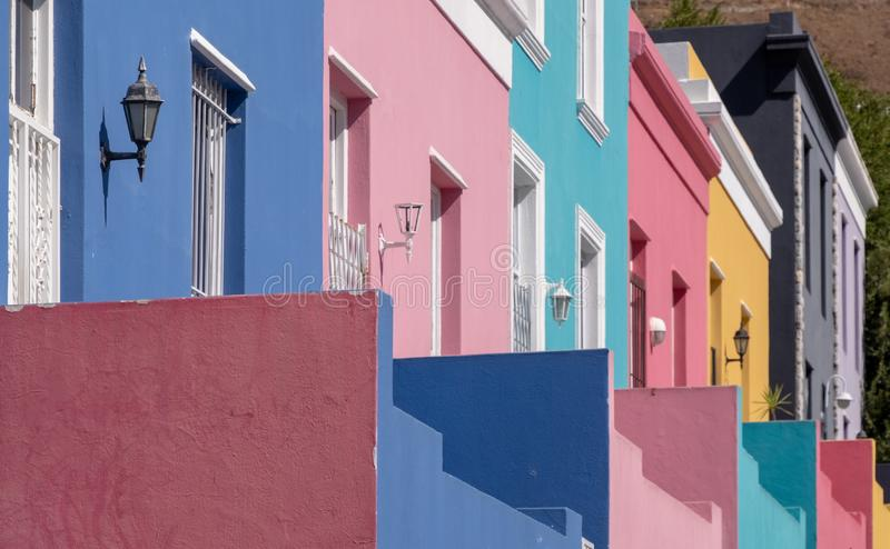 Detailed photo of houses in the Malay Quarter, Bo-Kaap, Cape Town, South Africa. Historical area of brightly painted houses royalty free stock image
