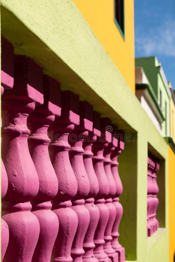 Detailed photo of houses in the Malay Quarter, Bo-Kaap, Cape Town, South Africa. Historical area of brightly painted houses stock photo