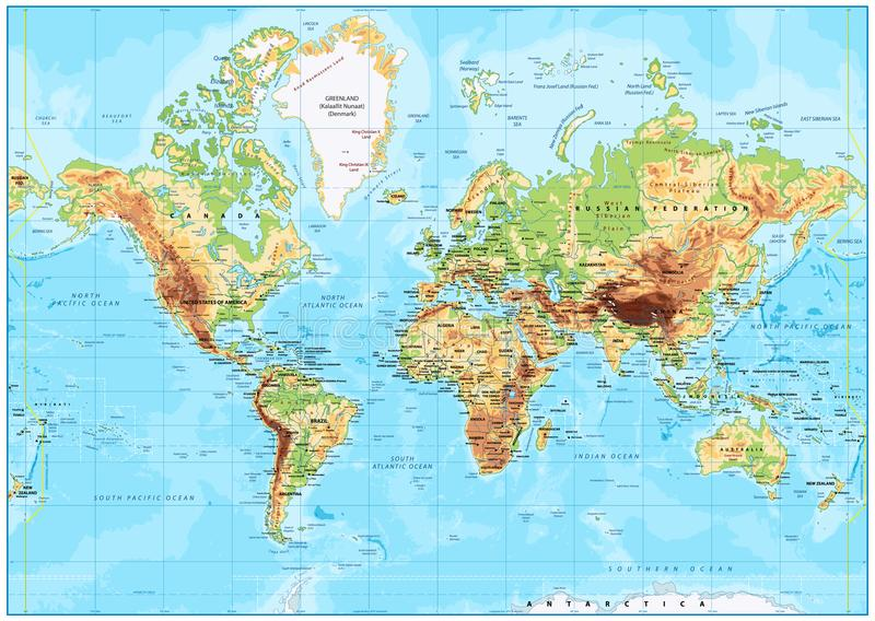 Detailed Physical World Map. With labeling. Vector illustration