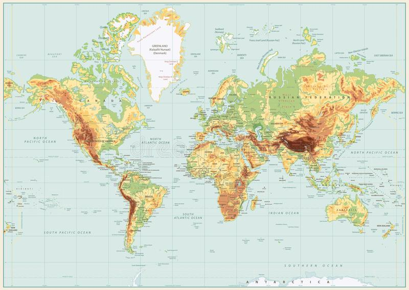 Detailed World Map Spot Colors. No Text Stock Vector ...