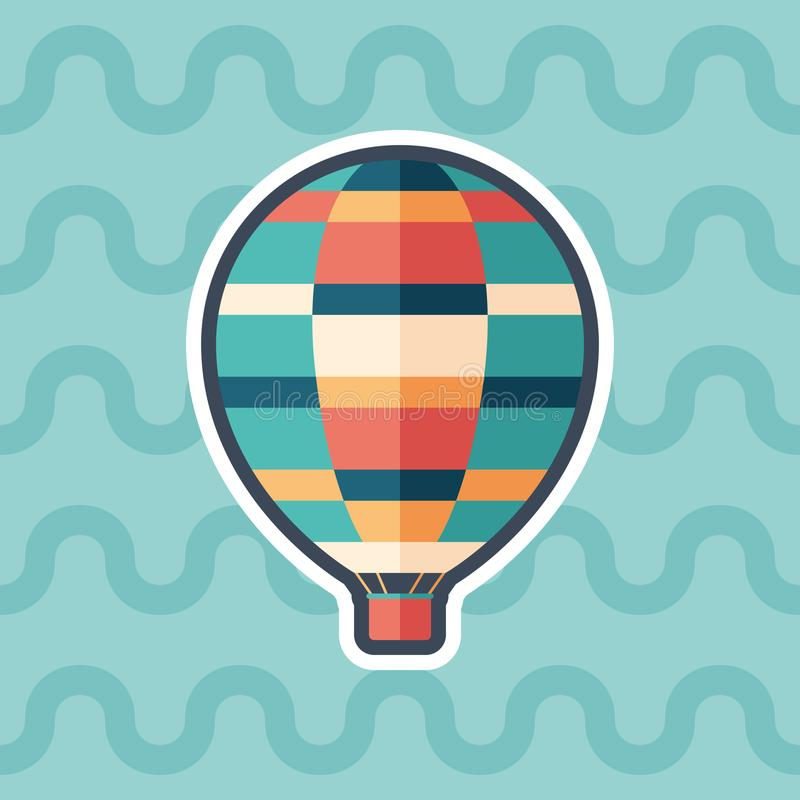 Air balloon sticker flat icon with color background. vector illustration