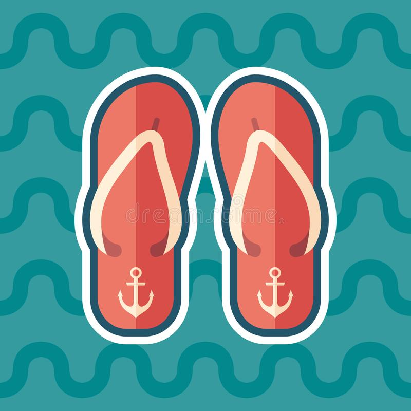 Beach slippers sticker flat icon with color background. stock illustration