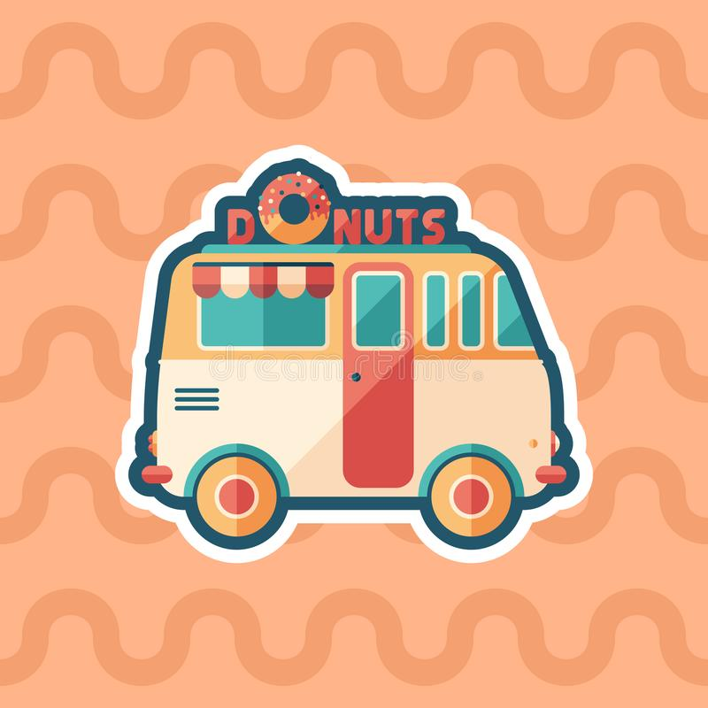 Donuts van sticker flat icon with color background. royalty free illustration