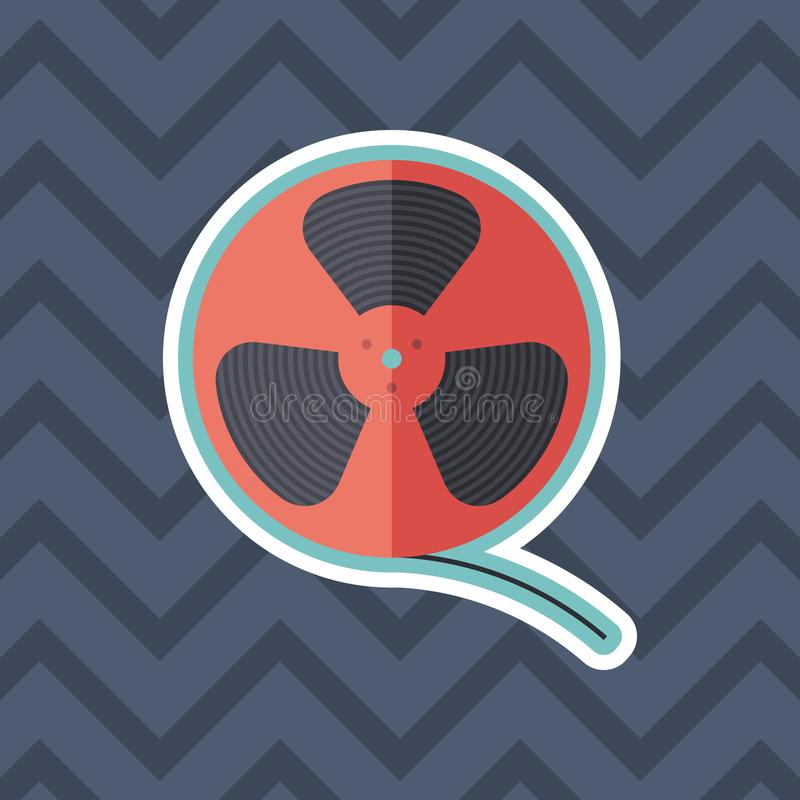 Film reel sticker flat icon with color background. stock illustration