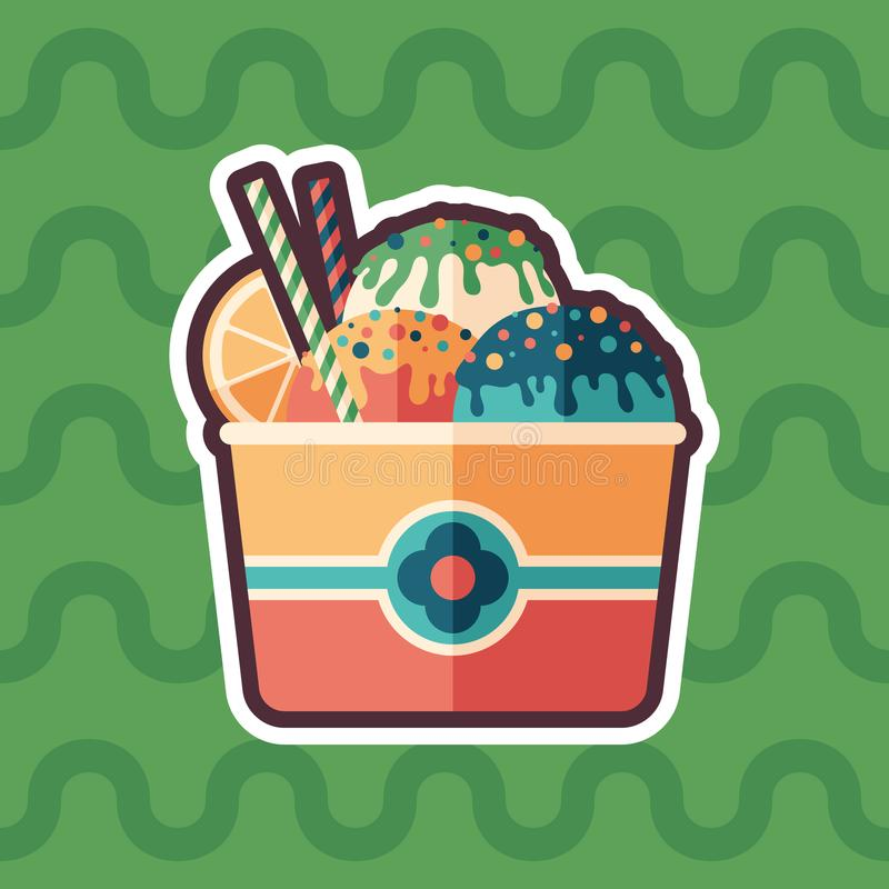 Fruit ice cream sticker flat icon with color background. vector illustration