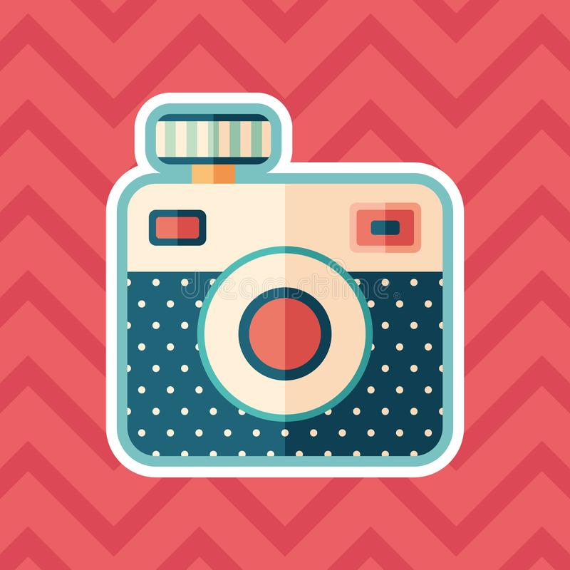 Hipster camera sticker flat icon with color background. royalty free illustration