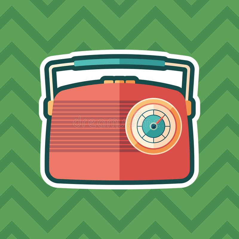 Red vintage radio sticker flat icon with color background. royalty free illustration