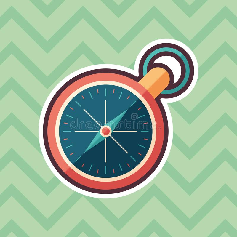Retro compass sticker flat icon with color background. vector illustration
