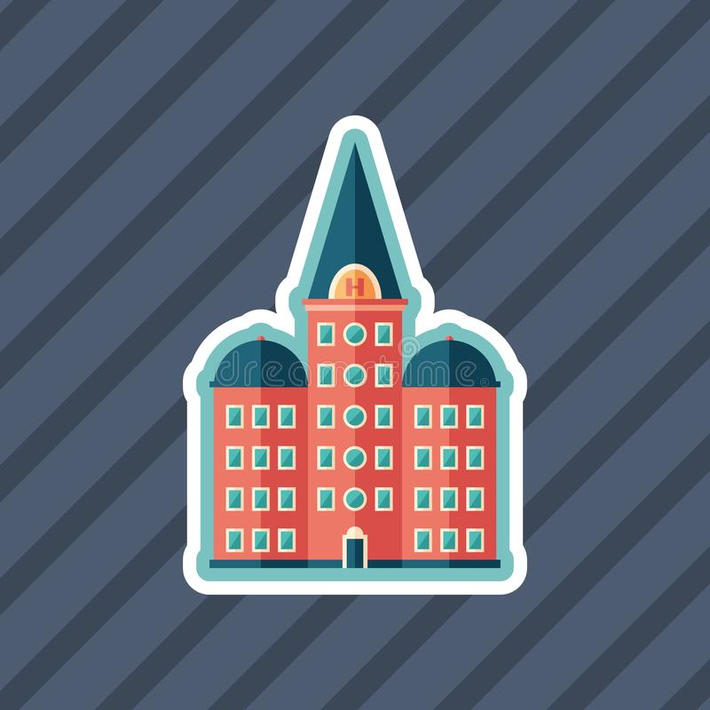 Retro hotel sticker flat icon with color background. vector illustration