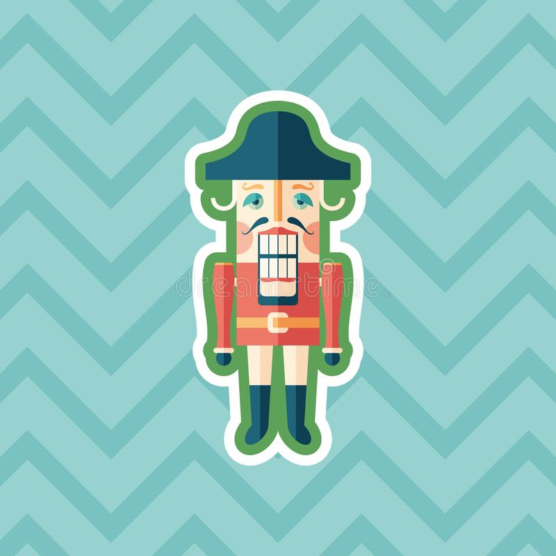 Retro nutcracker sticker flat icon with color background. royalty free illustration