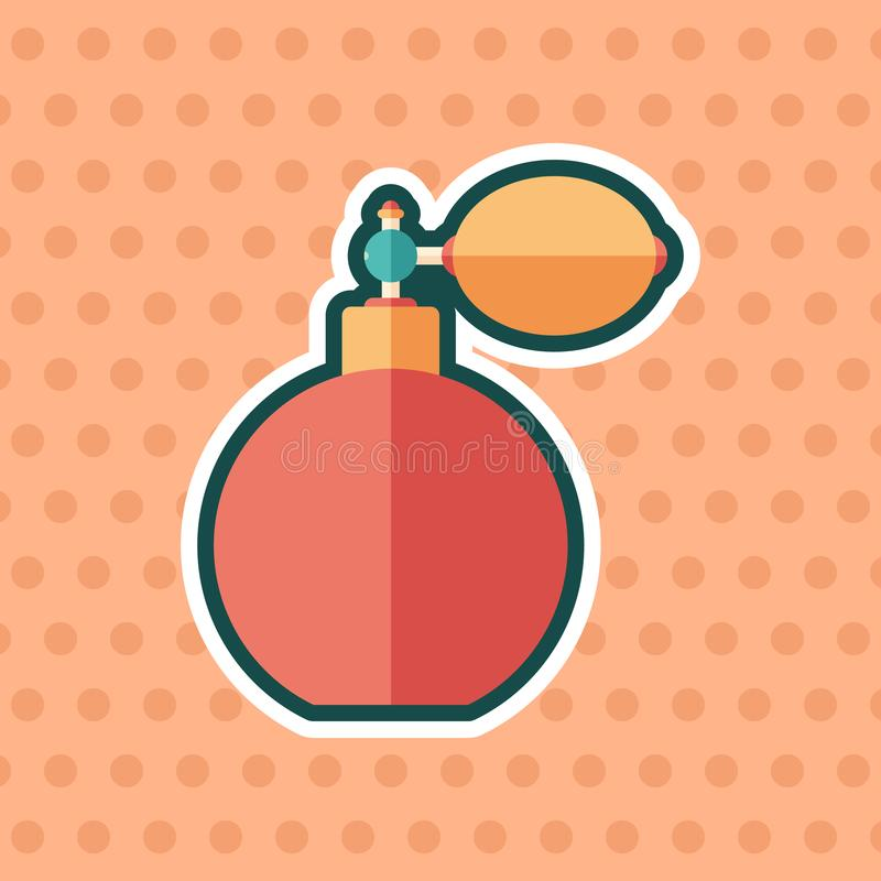 Retro perfume bottle sticker flat icon with color background. stock illustration