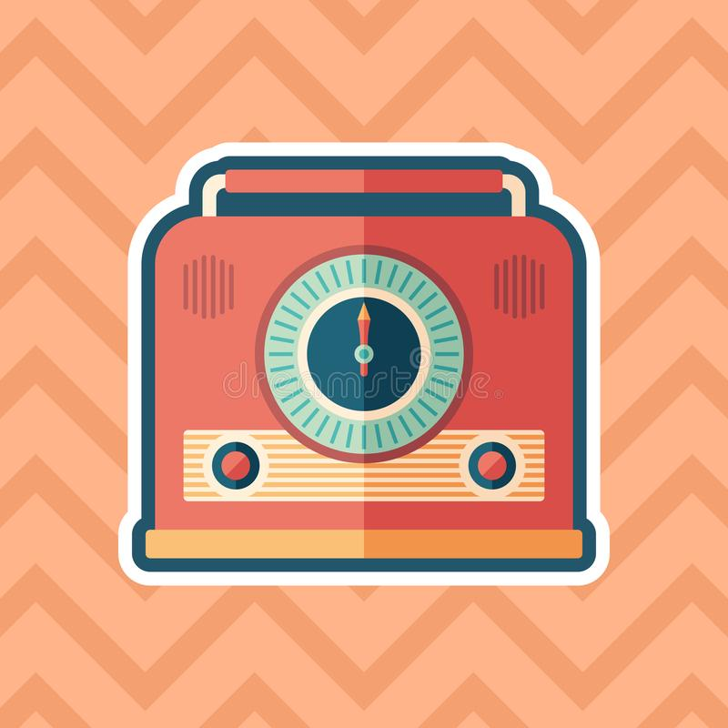 Retro radio receiver sticker flat icon with color background. stock illustration