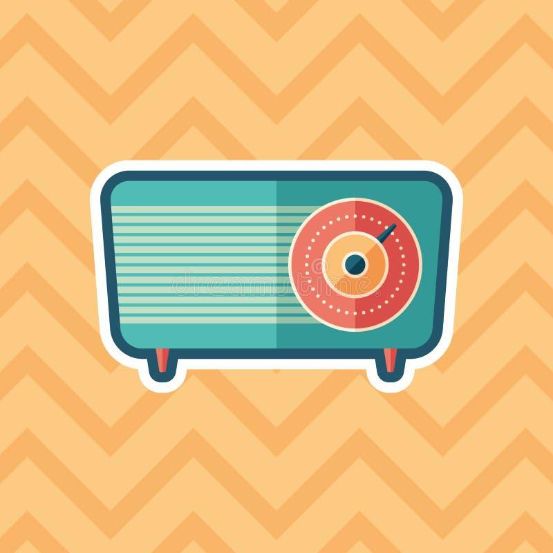 Retro radio sticker flat icon with color background. vector illustration