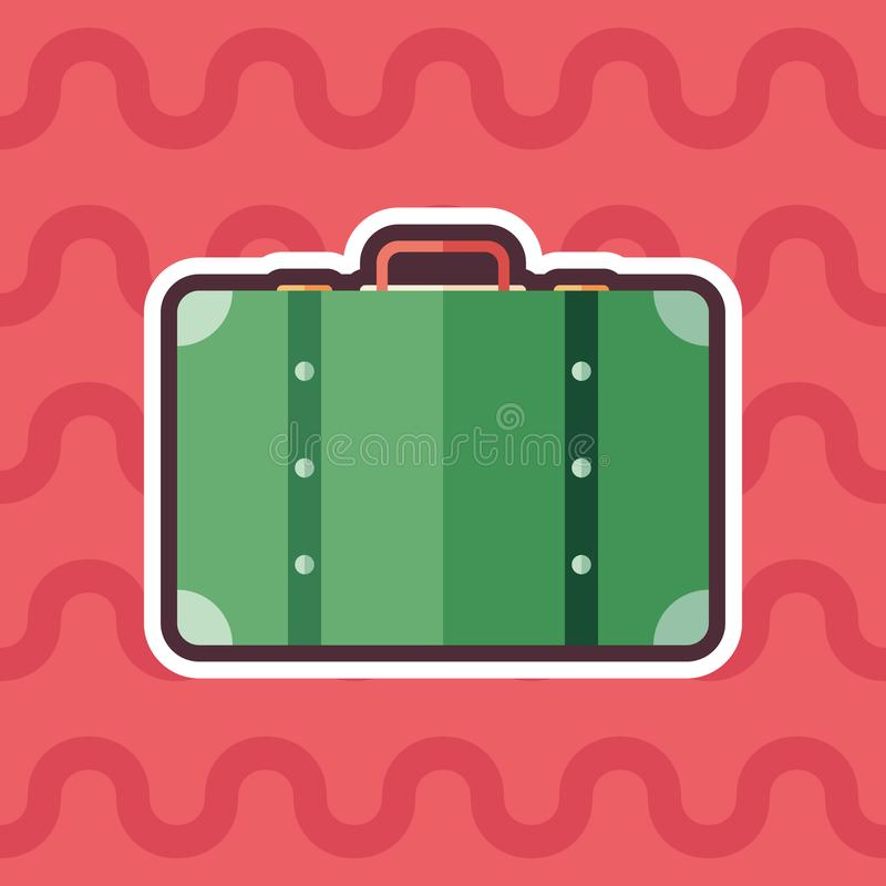 Retro suitcase sticker flat icon with color background. royalty free illustration