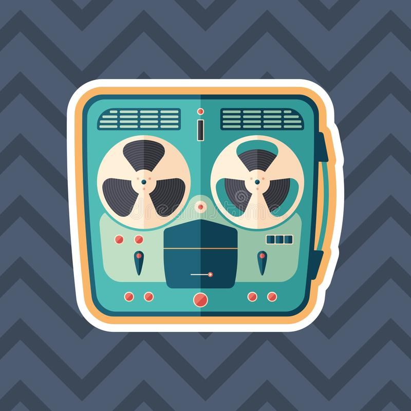Retro tape recorder sticker flat icon with color background. royalty free illustration