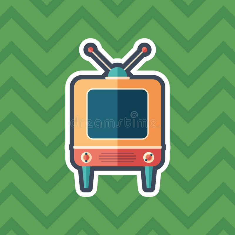 Retro television receiver sticker flat icon with color background. stock illustration