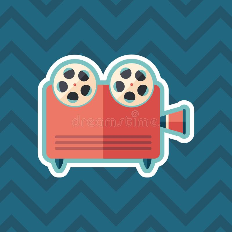 Retro video projector sticker flat icon with color background. royalty free illustration