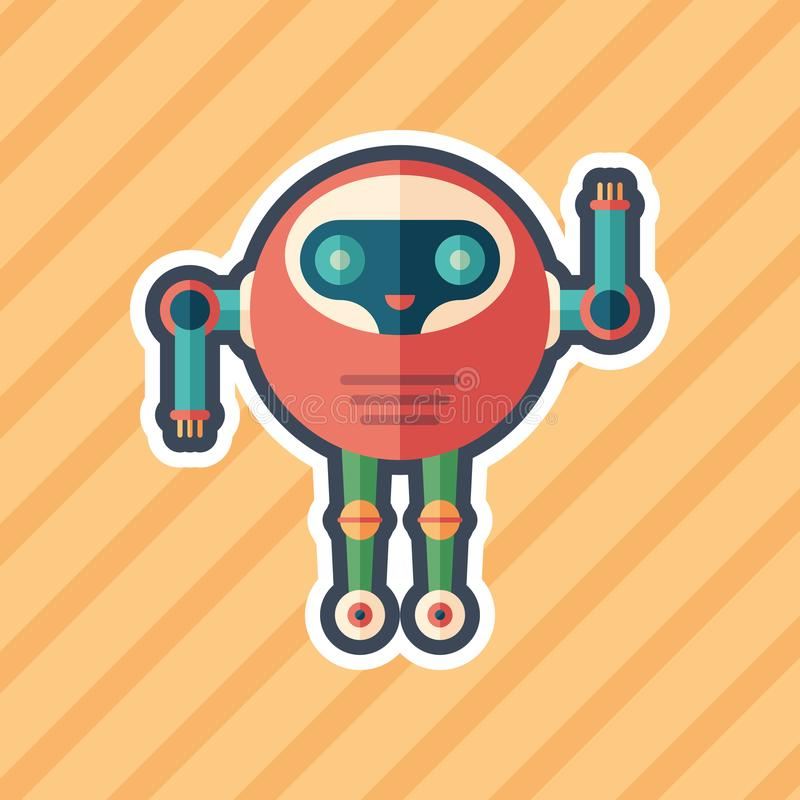 Robot astronaut sticker flat icon with color background. vector illustration
