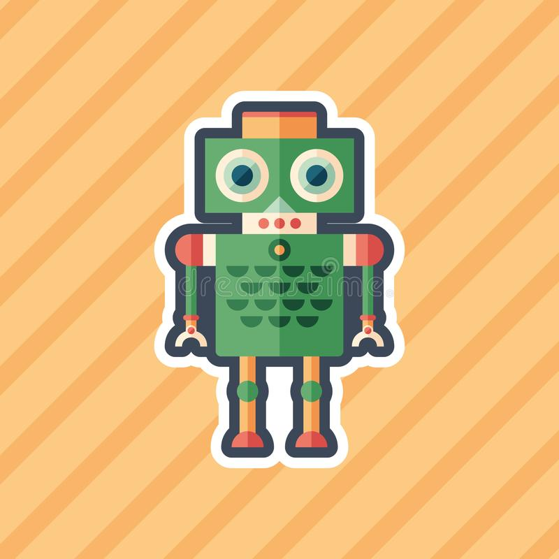 Robot bird sticker flat icon with color background. royalty free illustration