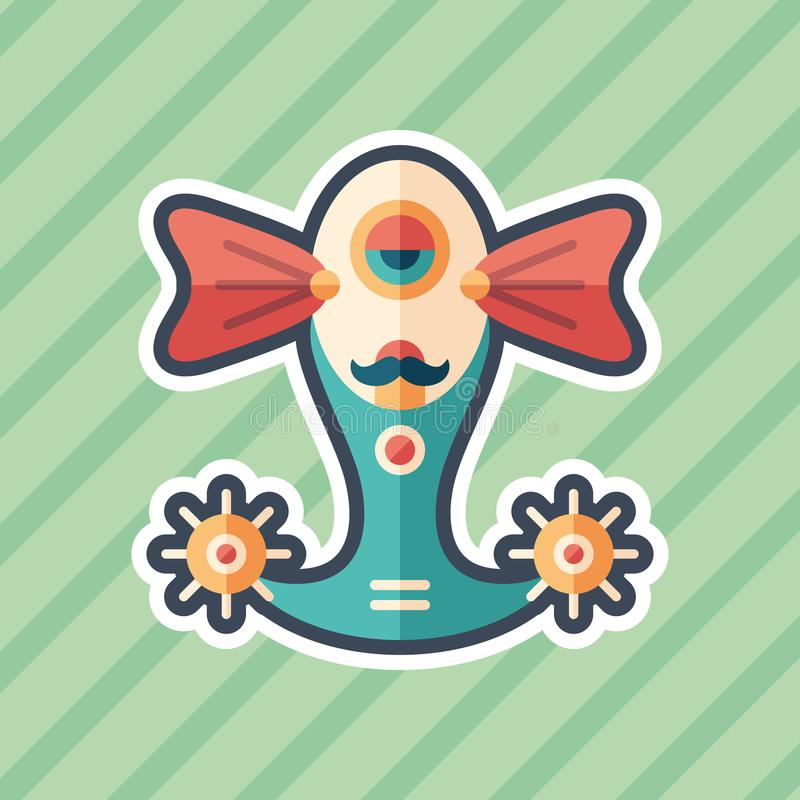 Robot fish sticker flat icon with color background. royalty free illustration