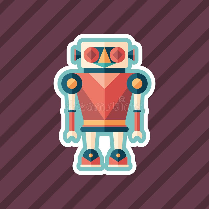 Robot illusionist sticker flat icon with color background. royalty free illustration