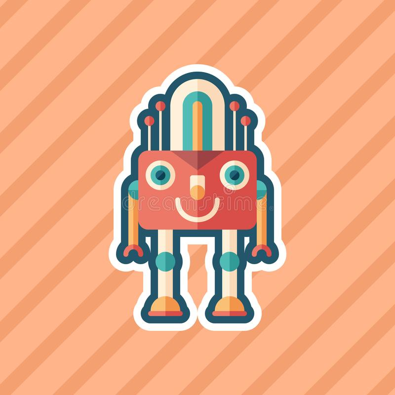 Robot lamp sticker flat icon with color background. stock illustration