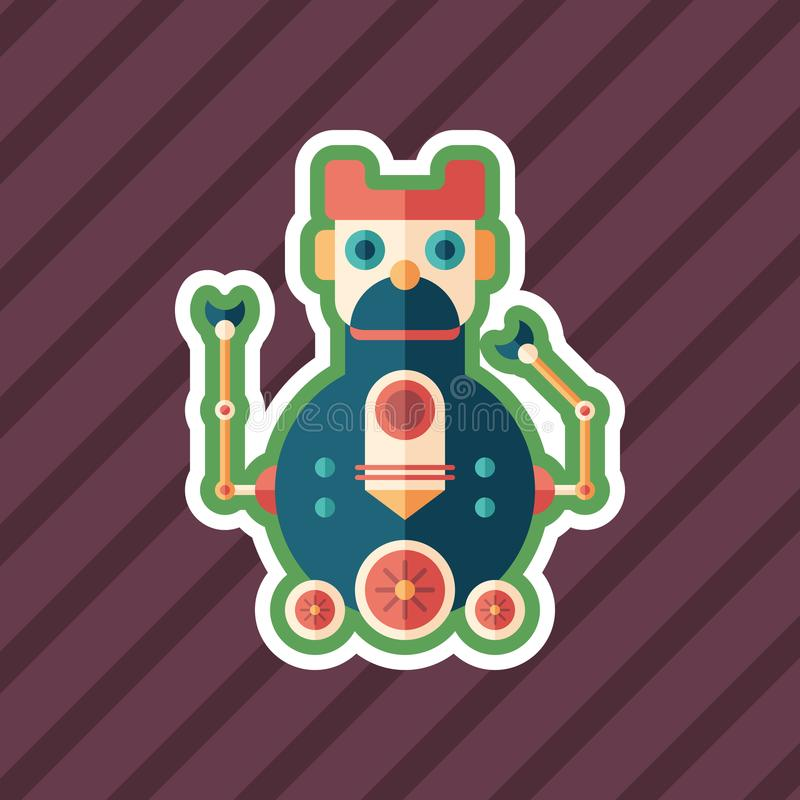 Robot locomotive sticker flat icon with color background. royalty free illustration