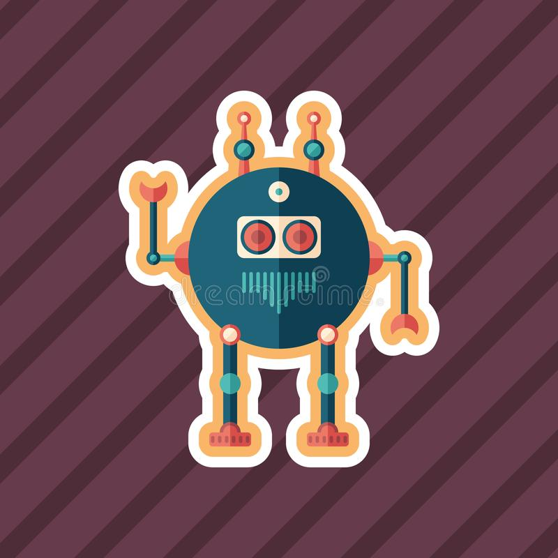 Robot scout sticker flat icon with color background. stock illustration