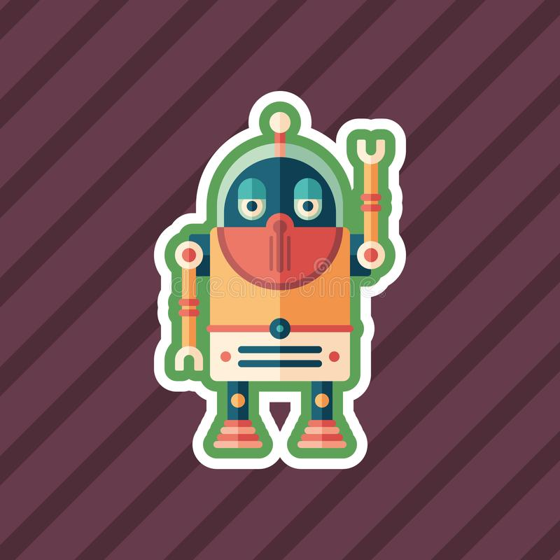 Robot tourist sticker flat icon with color background. stock illustration