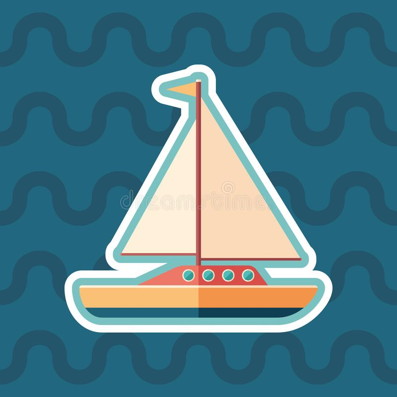 Sailing yacht sticker flat icon with color background. stock illustration