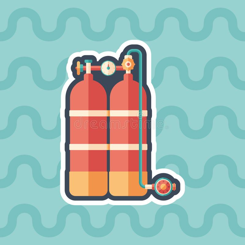Scuba diving oxygen tanks sticker flat icon with color background. stock illustration