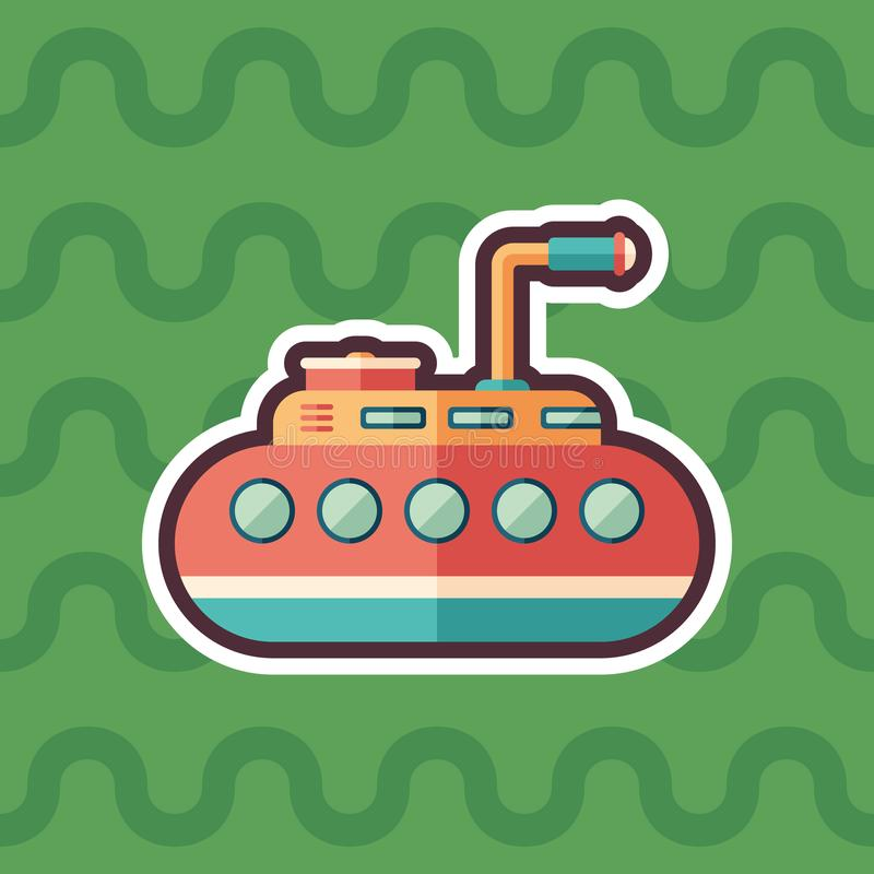 Tourist submarine sticker flat icon with color background. royalty free illustration