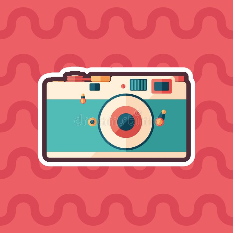 Vintage film camera sticker flat icon with color background. stock illustration