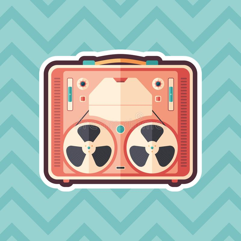 Vintage tape recorder sticker flat icon with color background. royalty free illustration