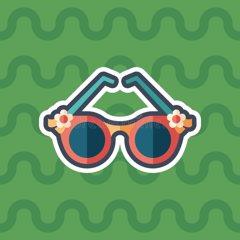 Women`s romantic sunglasses sticker flat icon with color background. vector illustration