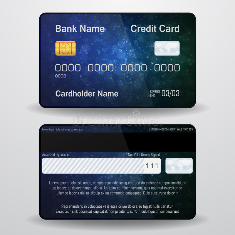 Detailed realistic vector credit card. Front and back side. Money, payment symbol.  royalty free illustration