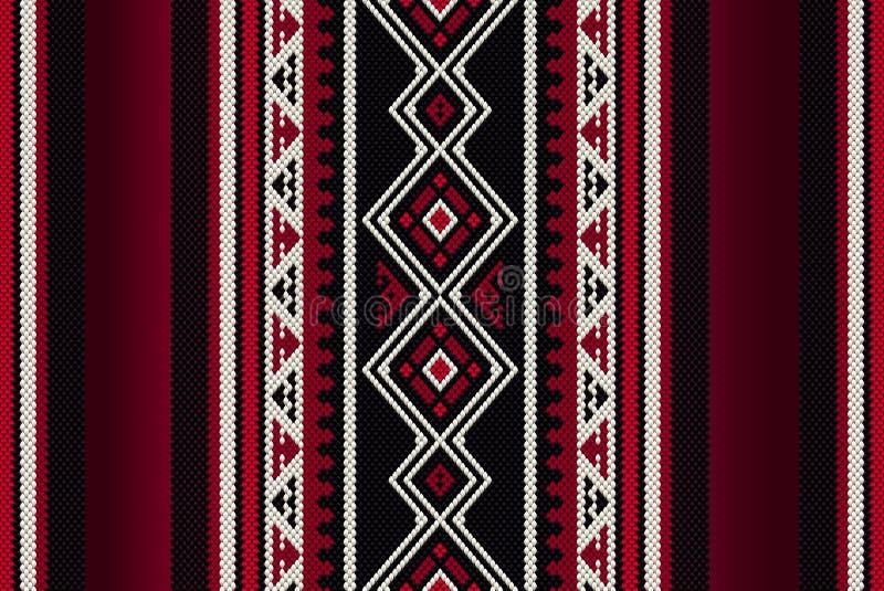 Detailed Red Traditional Folk Sadu Arabian Hand Weaving Pattern royalty free illustration
