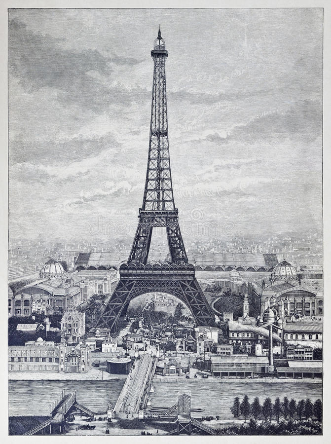 Detailed reprography of a vintage engraved illustration from Eiffel Tower vector illustration