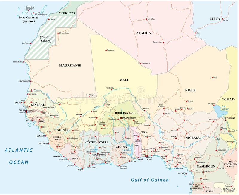 Road Map West Africa Detailed Road Map Of The Countries Of West Africa With Capital C