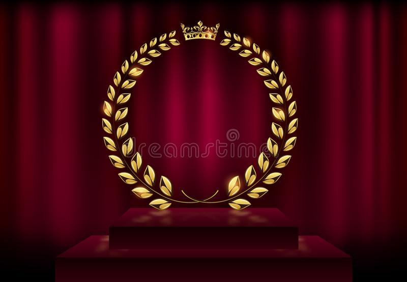 Detailed round golden laurel wreath crown award on velvet red curtain background and stage podium. Gold ring frame logo. Victory royalty free illustration