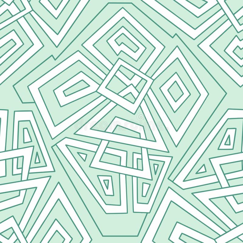 Detailed seamless geometric pattern in pale green tones. Colorful geometric pattern. Seamless pattern, background, texture. Vector stock illustration