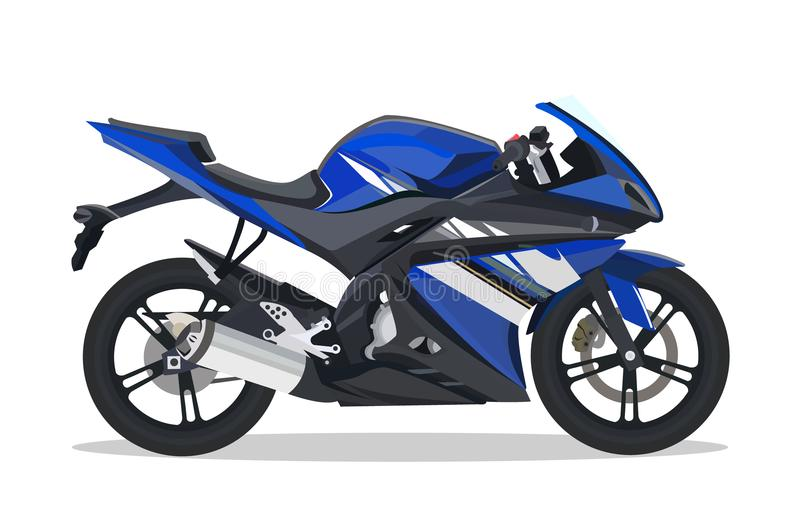 Blue motor bike. Detailed side of a flat blue motor bike cartoon vector with shadow and white background vector illustration