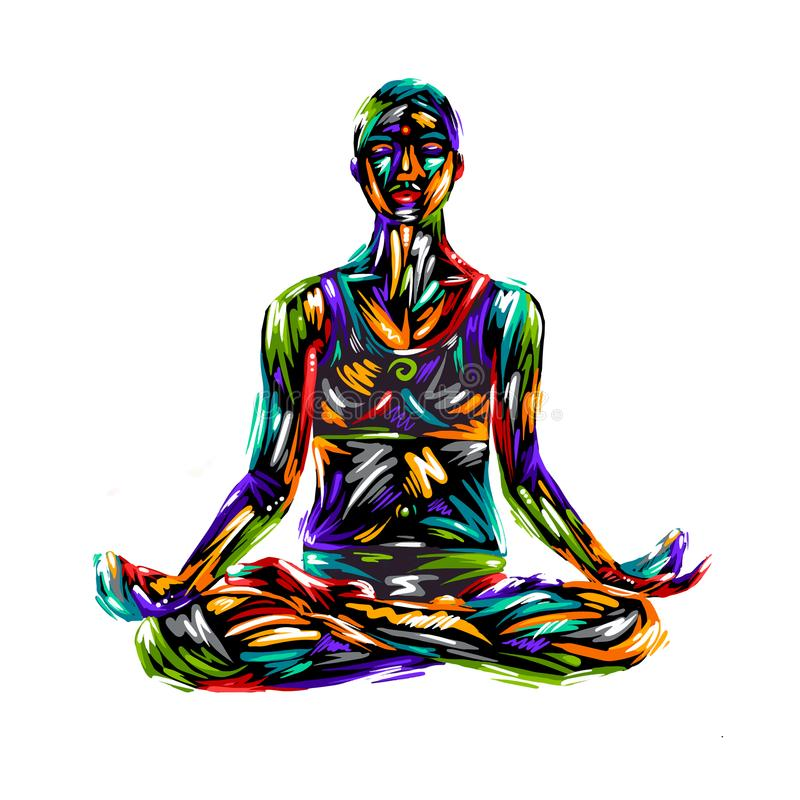 Detailed silhouette yoga illustration. Fitness Concept. Gymnastics. Aerobics. Pose of lotus design art colorful ha royalty free illustration