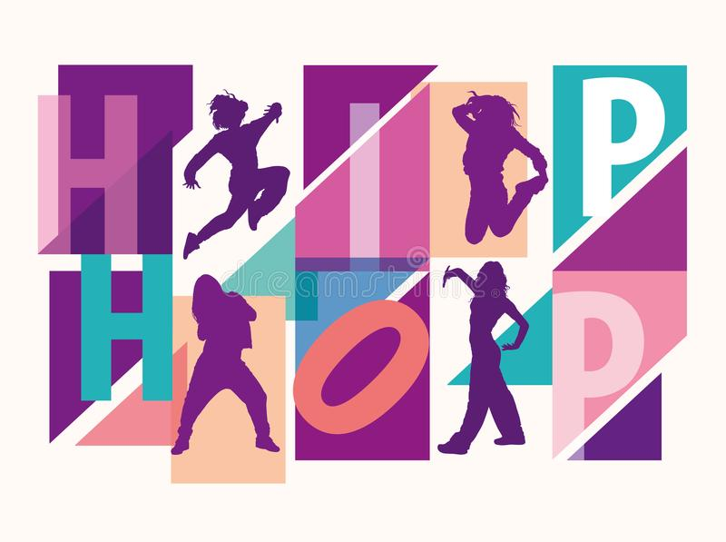 Detailed silhouettes of girls dancing among hip hop lettering stock photos